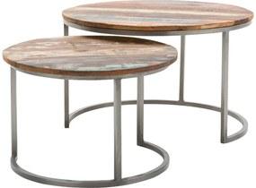 Goossens Basic Salontafel Jimmy rond, hout mango bruin, urban industrieel, 75 x 45 x 75 cm