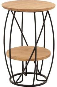 Goossens Salontafel Bellis rond, hout eiken blank, stijlvol landelijk, 39 x 60 x 39 cm