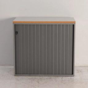 Roldeurkast, aluminium/grijs, 74 x 80 cm, incl. 1 legbord