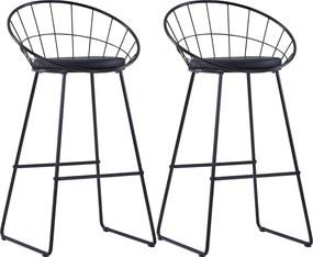 Barstoelen 2 st kunstleer zwart