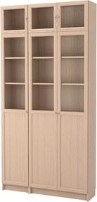 BILLY / OXBERG Boekenkastcombi m vitrinedeuren 120x30x237 cm wit gelazuurd eikenfineer/glas
