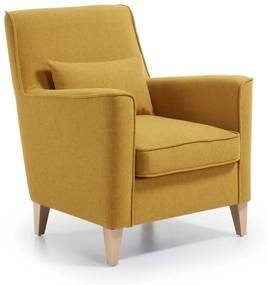 Kave Home Glam (Fyna) Design Fauteuil Met Hout Geel