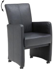 Goossens Eetkamerstoel Riva In Kunstleer zwart kunstleer verstelbaar met arm en met wielen, stijlvol landelijk
