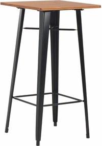 Bartafel 60x60x108 cm massief grenenhout staal zwart