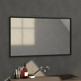 Badkamerspiegel Silhouette 120x70x2.5cm Geborsteld Aluminium Lijst Zwart