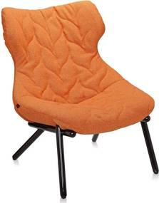 Kartell Foliage fauteuil zwart onderstel trevira oranje