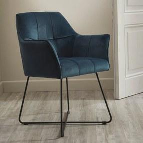 Comfortabele Design Eetkamerstoel Donkerblauw