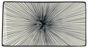 Tapas bord Sevilla - zwarte lijnen - 28x15,5 cm