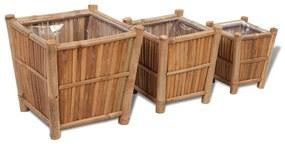 3 st Plantenbakken verhoogd bamboe met nylon voering