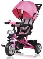 Deuba kinderfiets/driewieler -Roze- Duwstang, klapdak, opklapbare voetsteun, mandje