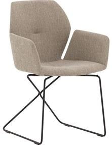 Goossens Eetkamerstoel Manzini bruin stof met arm, modern design