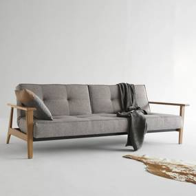 Innovation Living Splitback Frej Natural Design Slaapbank Met Eiken Armleuningen