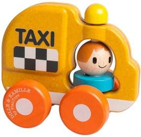 Taxi met chauffeur, rubberhout, geel