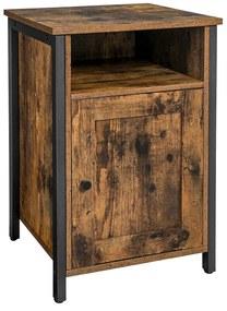 Nancy's Oak Harbor Nachtkastje - Nachtkasten - Industrieel - Hout/Metaal - Bruin - 40 x 40 x 60 cm