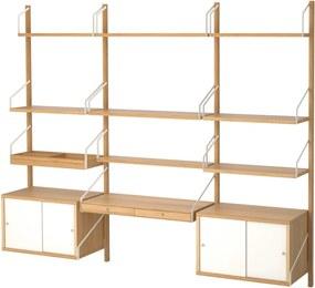 SVALNÄS Wandwerkplekcombinatie 213x35x176 cm bamboe/wit