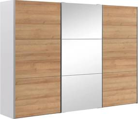 Goossens Kledingkast Easy Storage Sdk, 300 cm breed, 220 cm hoog, 2x 3 paneel schuifdeuren en 1x 3 paneel spiegel schuifdeur midden