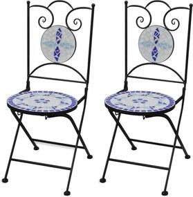 Bistrostoelen inklapbaar 2 st keramiek blauw en wit