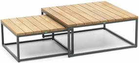 Suns Alta 2 pcs. side tables 60x60x80 matt royal grey/teak top