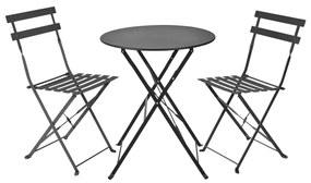 Bistroset tafel + 2 stoelen - zwart - ⌀59x70 | 41x44x81 cm