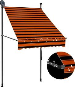 Luifel handmatig uittrekbaar met LED 100 cm oranje en bruin