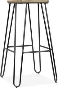 Legend Wire - Metalen barkruk - Houten zitting - 75 cm -