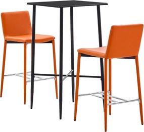 3-delige Barset kunstleer oranje