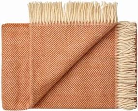 Plaid of deken wol: oranje visgraat 1 persoonsbed