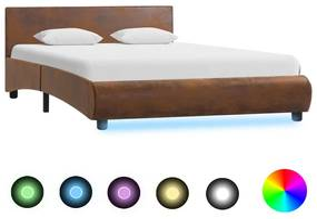 Bedframe met LED stof bruin 120x200 cm