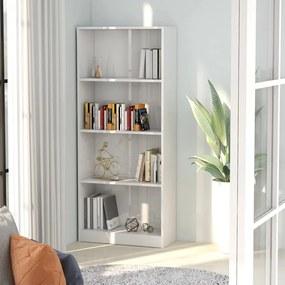 Boekenkast met 4 schappen 60x24x142 cm spaanplaat hoogglans wit