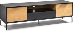Kave Home Savoi Tv-meubel Zwart Met Eiken - 170x45x50cm.