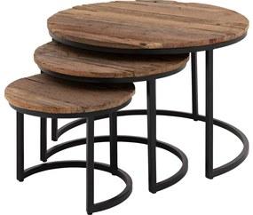 Goossens Eco Salontafel Otik rond, hout teak onbewerkt, urban industrieel, 77 x 47 x 77 cm