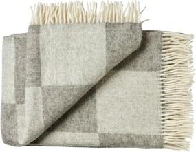 Deken wol: grijs geblokt, 2 persoonsbed