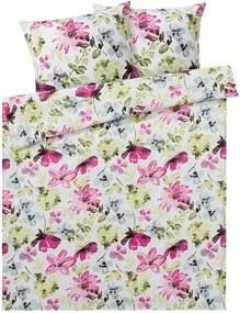 Katoensatijnen dekbedovertrek 240 x 220 Bloemen/bont gekleurd