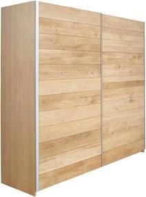 Goossens Excellent Kledingkast Oak, 200 cm breed, 222 cm hoog, 2 hout schuifdeuren