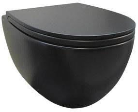Wandcloset Luca Sanitair Vaso Rimless 54x36cm Mat zwart (Exclusief zitting)