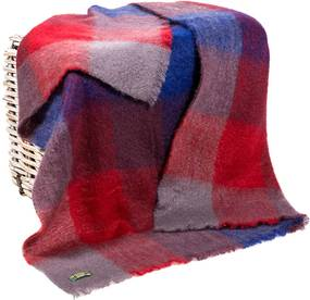 Plaid brushed mohair: rood, blauw