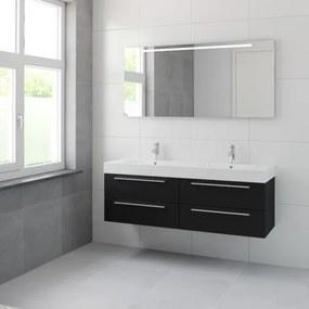 Bruynzeel Bando badmeubelset 150x45cm 2 kraangaten 2 wasbakken 4 lades met spiegel met softclose Composiet zijde zwart 123101975