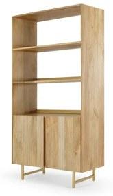 Aphra boekenkast, licht mangohout en messing binnenkant