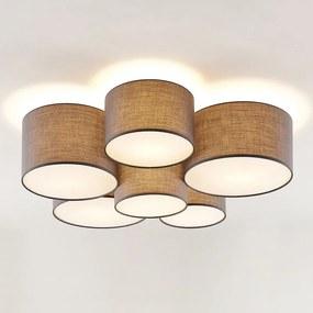 Laurenz plafondlamp, 6-lamps, grijs - lampen-24