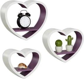 Wandbox 3er set hart - wandplanken - MDF wandelement - wandboard - decoratief Wit-Violet