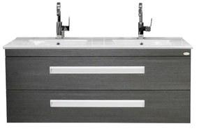 Badkamermeubelset Sanicare Q2 2 Soft Close Lades Wastafel Keramiek 121x46 cm Grey Wood