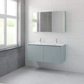 Bruynzeel Matera badmeubelset 56.5x120x50cm 2 kraangaten 2 wasbakken 4 lades met spiegelkast met softclose composite fjord groen 123102152