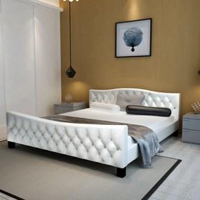 Medina Bed met matras kunstleer wit 180x200 cm