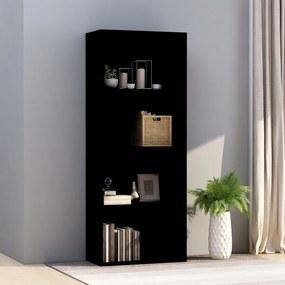 Boekenkast met 4 schappen 60x30x151,5 cm spaanplaat zwart
