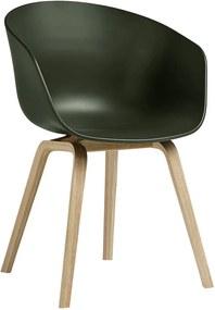 Hay AAC22 stoel met gelakt onderstel kuip green
