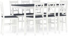9-delige Eethoek grenenhout wit en grijs