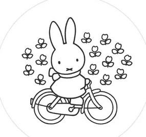 Behangcirkel Nijntje op de fiets (ø190 cm)