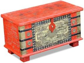 Opbergkist 80x40x45 cm mangohout rood