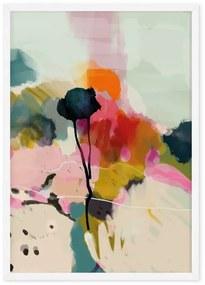 Abstract liggende print met bloemen, A1, ingelijste print, meerkleurig