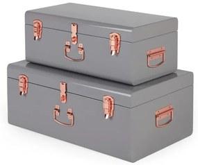 Gunner set van twee metalen koffers, grijs en koper